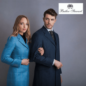 A photo of 2 people modelling for Butler Stewart