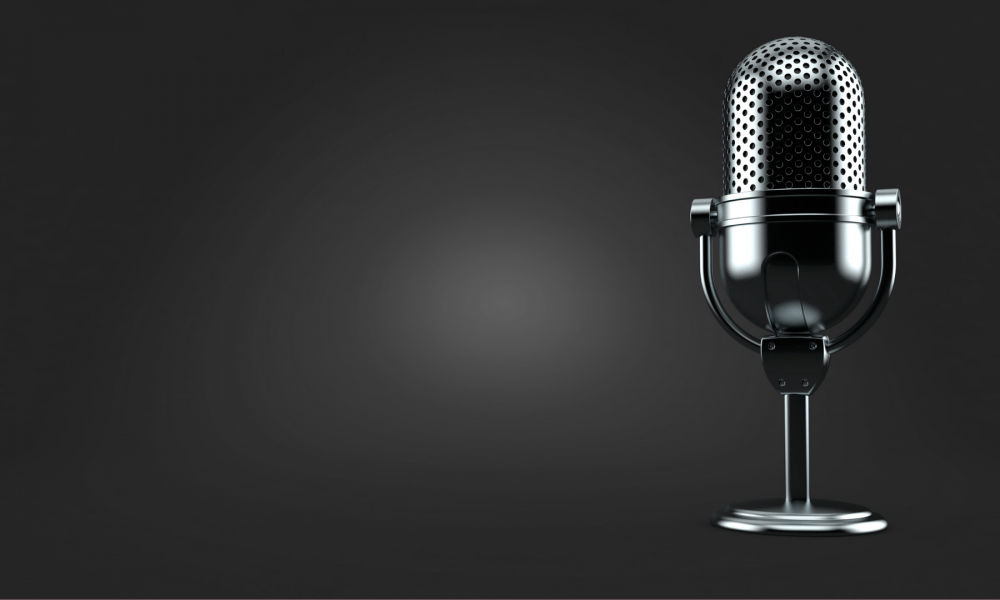 A microphone set up to discuss award-winning blog criteria
