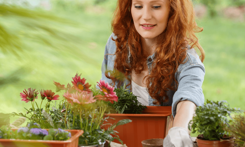 Woman Enjoying Gardening In April