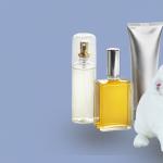 A white rabbit sitting alongside three beauty products