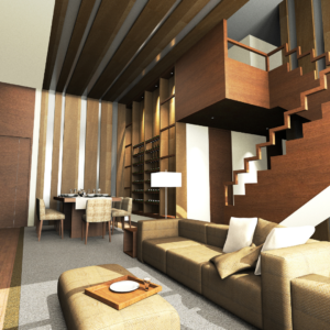 earthy toned living room interior