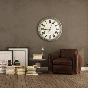 living room with statement clock