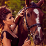 lady with horse. equestrian