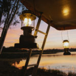 Stunning evening at luxury glamping site in the UK